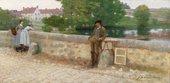 John Lavery (Irish, 1856-1941) On the Bridge at Grez, 1884