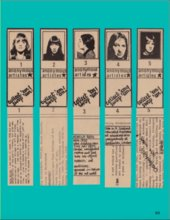 Image of artwork by Kate Walker, showing newspaper cut-outs of anonymous women artist cards for collecting and swapping