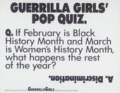 Guerrilla Girls' Pop Quiz 1990, screenprint on paper