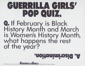 Guerrilla Girls' Pop Quiz 1990, screenprint on paper