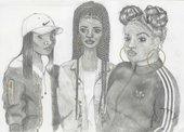 A sketch of three women