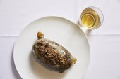 birds eye view of haggis served on a plate