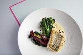 Dish of hake, broccoli and swiss chard