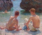 A painting of two young men on the beach