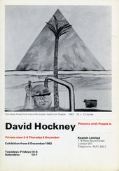 A card for a 1963 David Hockney exhibition