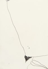 Huguette Caland, Flirt VI, 1972, ink on paper, 17.1 x 12 cm