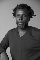 Black and white photograph portrait of Hurvin Anderson