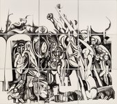 ​Ibrahim El-Salahi, 'The Inevitable', 1984-85, India ink on Bristol board, Nine panels, overall: 17ft. 5½ in. x 19ft. 9¾ in. (532.1 x 603.9 cm). Herbert F. Johnson Museum of Art, Cornell University.​