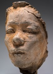 A sculpted plaster mask of Japanese model and actor known as Hanako