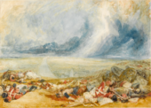 battlefield with bodies of soldiers and horses beneath a stormy sky