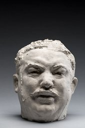 A plaster sculpture modelled on a bus conductor as a study for a sculpture of Balzac