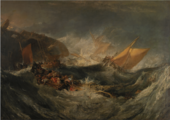 stormy sea with boats