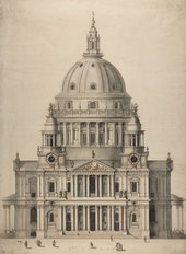 Sir Christopher Wren, Nicholas Hawksmoor St Paul's Cathedral: Elevation from West c.1702 All Souls College, Oxford