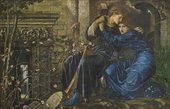 Painting of an embracing couple surrounded by ruins