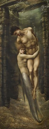 Painting of a mermaid embracing a nude male figure underwater