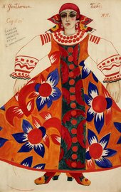 drawing of a woman wearing a brightly coloured costume