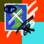 A recoloured British postal stamp overlaid with brush marks