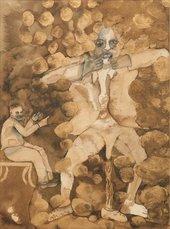 A seated man looks at a three legged man standing