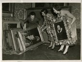 George Gower paintings being moved from the lower ground floor as flood precaution in February 1953