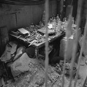 Giacometti's desk in his Paris studio, 1958