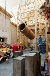 Phyllida Barlow dock installation: view of the North Duveen gallery