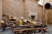 Phyllida Barlow dock installation - untitled: dock: crashedlintel/brokensculpture/paintedtarps