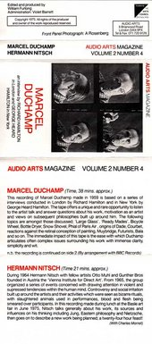 Audio Arts Volume 2 No 4 Inlay showing complete cassette inlay with photos of Marcel Duchamp and content description of tape