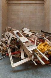 Phyllida Barlow untitled: dock: crashedlintel/brokensculpture/paintedtarps 2014 (detail)