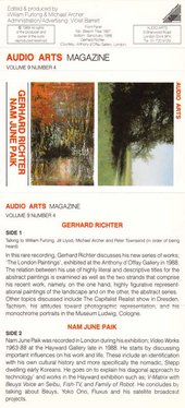 Audio Arts Volume 9 No 4 Inlay showing cassette layout of two photographs of the artists' works and the details of the sides contents