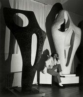 Barbara Hepworth with two of works