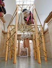 Phyllida Barlow untitled: dock: hungcowledtubes 2014 and untitled: dock: hungprongsplastercoils 2014