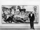 Malcolm Morley with his 1984 Turner Prize installation