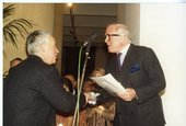 Howard Hodgkin receiving the Turner Prize from Sir Richard Attenborough, 1985