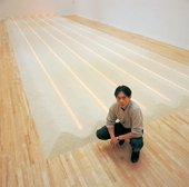 Vong Phaophanit with Neon Rice Field at the 1993 exhibition