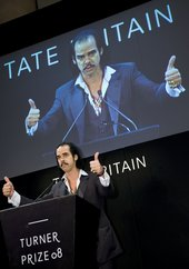 Nick Cave giving a speech at the Turner Prize 2008