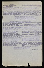 Poems titled 'Rollcall' and 'Prees Heath Interment Camp' on a piece of paper