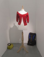 Installation view of the objects purchased from eBay by John Smith in the exhibition unusual Red cardigan at PEER Gallery, Londo