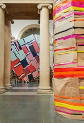 Phyllida Barlow untitled: dock: crushedtower 2014 and untitled: dock: emptystaircasehoarding 2014