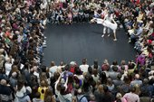 a large crowd circling a performer on harseback, photographed from above