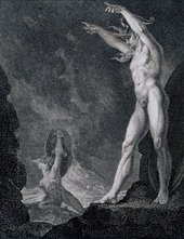 after Henry Fuseli Satan Summoning his Legions, engraving to John Milton, Paradise Lost published by F.I. du Roveray 1802