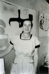 Agnes Martin photographed in her studio by Mildred Tolbert c. 1955