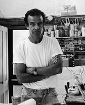Alex Katz in his first studio in Lincolnville, Maine, 1974