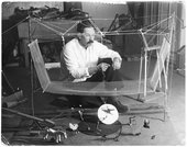 Alexander Calder with Circus in his studio