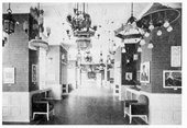Photograph of the sample hall showroom of the Karl-Max Seifert lamp factory, Dresden-Löbtau, featuring works from the first Brücke exhibition 1906