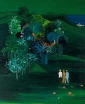 Painting called 'American Survey Officer' consiting of three men standing and chatting at the bottom of a tropical jungle scene