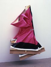 Angela de la cruz Super Clutter XXL Pink and Brown 2006 pink and black canvas distorted and attached to the wall
