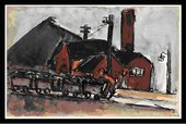 Josef Herman, untitled coal trucks in Tate Archive