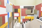 Archive Explorer leading the group at the colourful geometric patterned Tate Britain staircase
