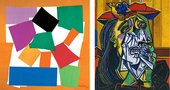 Two artworks next to each other - Matisse's The Snail and Picasso's Weeping Woman