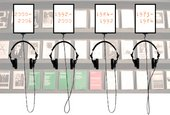 Image for the Audio Arts microsite showing four sets of headphones